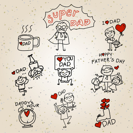 Happy Fathers Day hand drawing cartoon concept