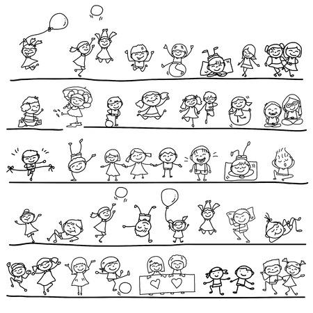 de hand tekening cartoon karakter gelukkig kinderen spelen