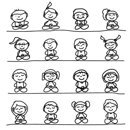 hand drawing cartoon happy people meditation Çizim