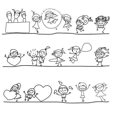 hand drawing cartoon happy kids  Vector