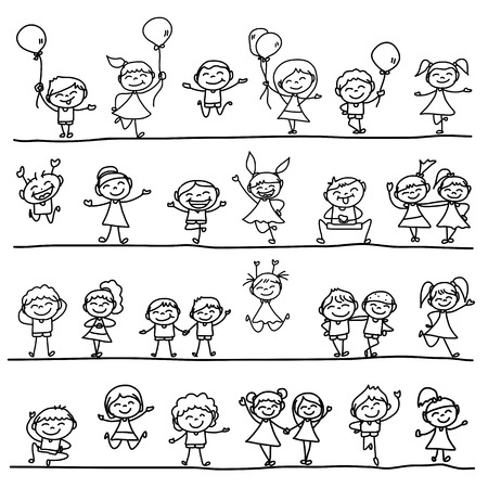 hand drawing cartoon happy kids Illustration