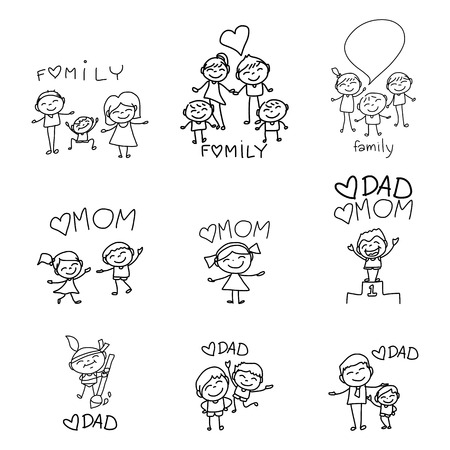 brother and sister cartoon: hand drawing cartoon character happy family