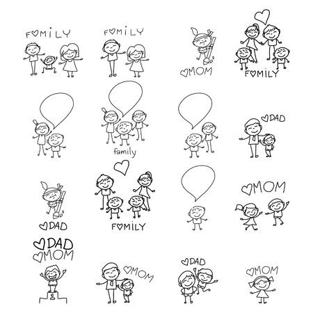 手描きの漫画キャラクター幸せな家族
