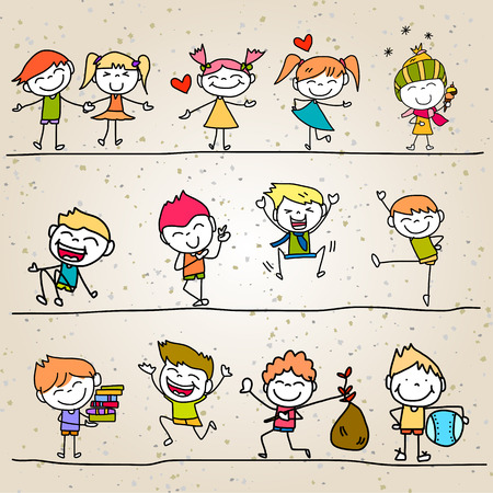 hand drawing cartoon happy kids