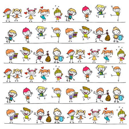 de hand tekening cartoon gelukkige kinderen Stock Illustratie