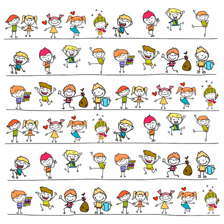 hand drawing cartoon happy kids Imagens - 31868701