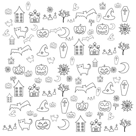 hand drawing cartoon halloween doodle element Vector