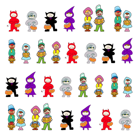 death s head: set of hand drawing cartoon character halloween