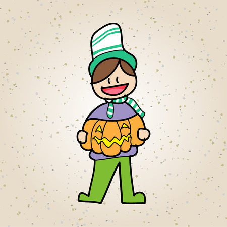 set of hand drawing cartoon character halloween Vector