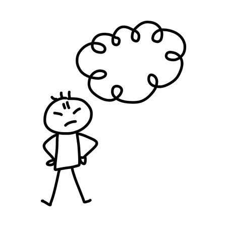 tough girl: hand drawing cartoon character concept tough business