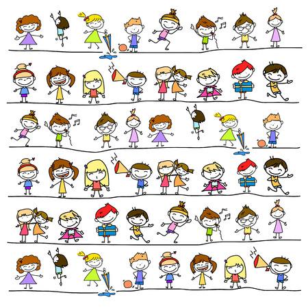 enfant qui joue: main bande dessinée de dessin caractère abstrait des gens heureux