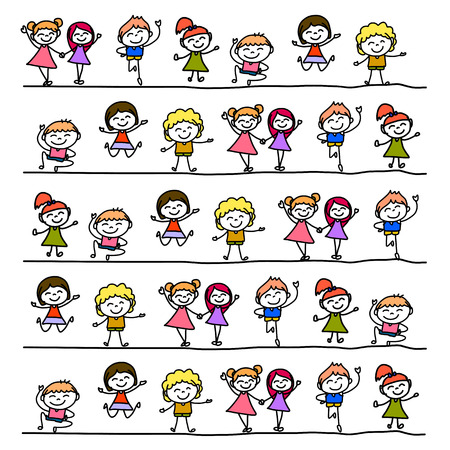 happiness people: hand drawing cartoon abstract character happy people Illustration
