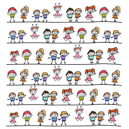 line drawings: hand drawing cartoon character abstract happy kids