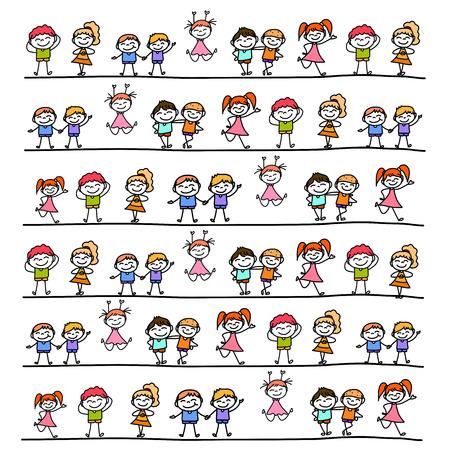 dibujos lineales: mano de dibujos animados dibujo de caracteres abstractos niños felices Vectores