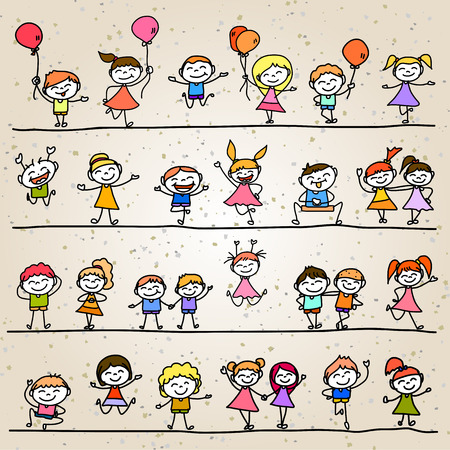 character abstract: set of hand drawing cartoon character abstract happy kids