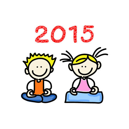 hand drawing cartoon happy people meditation 2015 Vector
