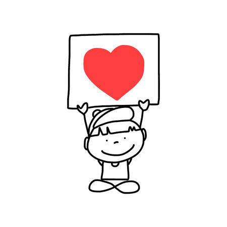 happy people: hand drawing cartoon abstract character happy people party
