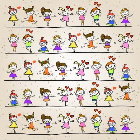 hand drawing cartoon character kids playing illustration Vetores