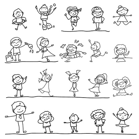 line drawing: hand drawing cartoon character kids playing illustration Illustration