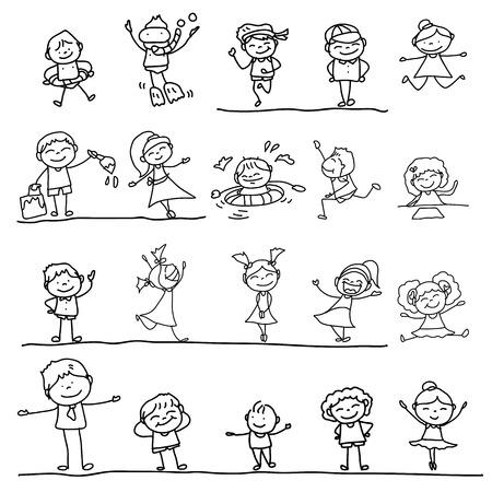 dibujos lineales: personaje de dibujos animados dibujo de la mano los ni�os que juegan el ejemplo Vectores