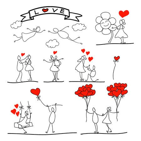 finale: cartoon hand-drawn abstract love charector illustration Illustration