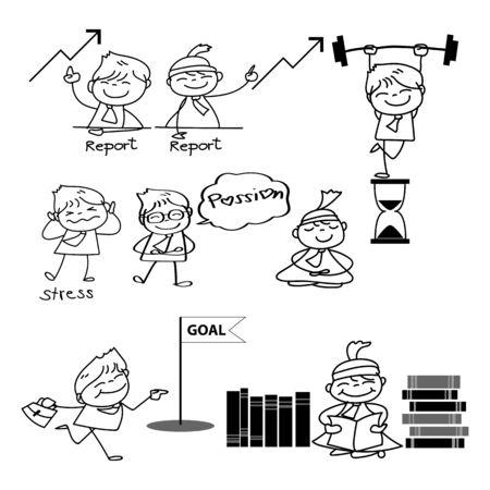 carreer: hand drawing cartoon business concept illustration Illustration