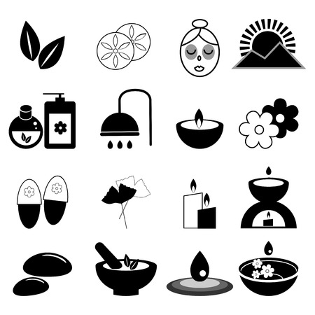 beauty therapist: Set of spa and massage icons for design