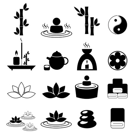 incense: Set of spa and massage icons for design eps 10