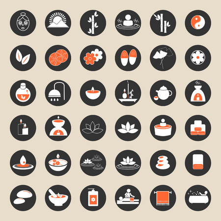 Set of spa and massage icons for design.