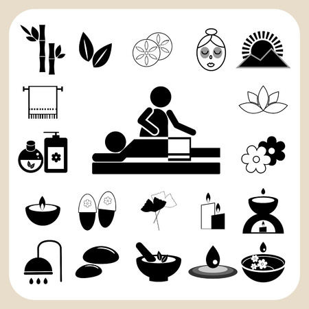 duality: Set of spa and massage icons for design.