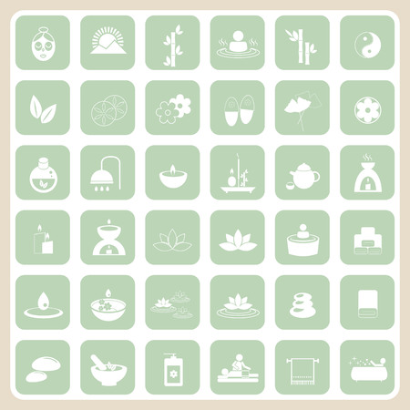 massage therapist: Set of spa and massage icons for design.