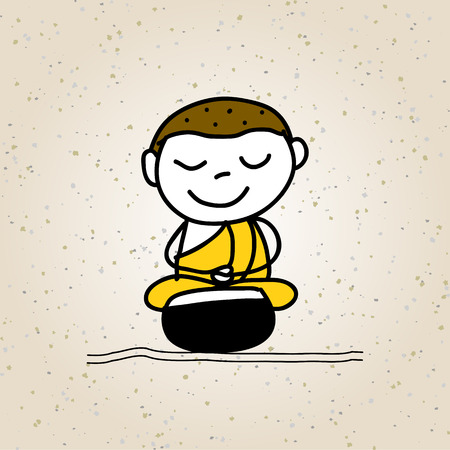 buddhist: hand drawing cartoon character buddhist monk illustration Illustration