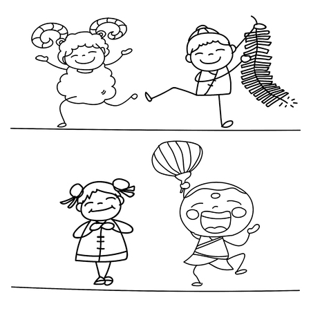 asian family fun: hand drawing Chinese New Year cartoon character happy people