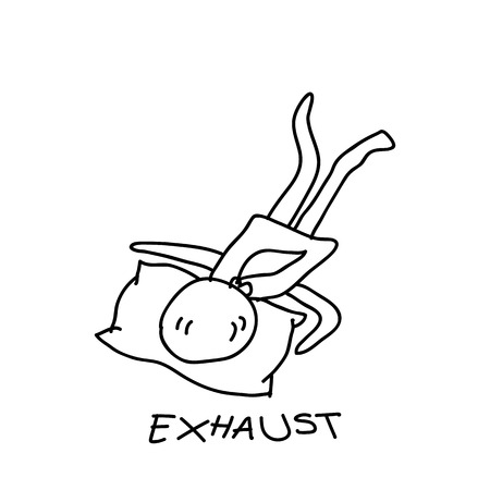 exhausted: hand drawing cartoon character exhausted people illustration