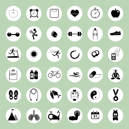health and fitness icons illustration set for web design Vector