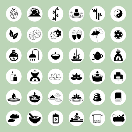 duality: Set of spa and massage icons for design eps 10