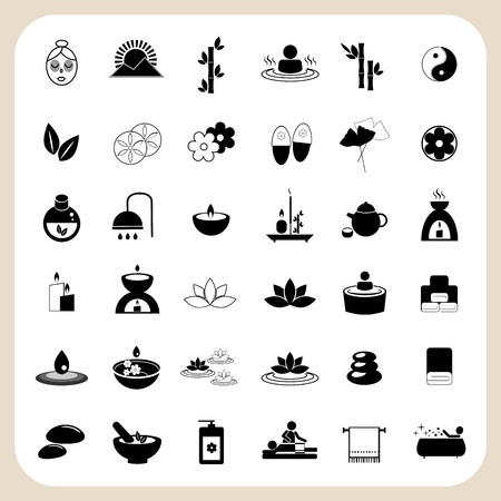 Set of spa and massage icons for design eps 10 Фото со стока - 37151173