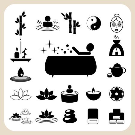 yinyang: Set of spa and massage icons for design eps 10
