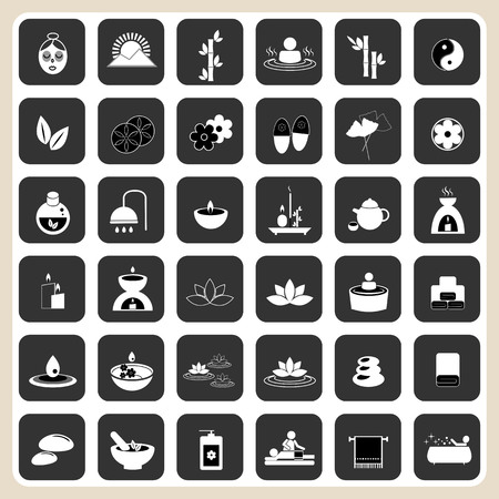 beauty therapist: Set of spa and massage icons for design eps 10