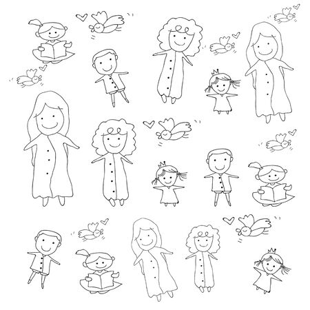 happy people: hand drawing cartoon concept happy people illustration