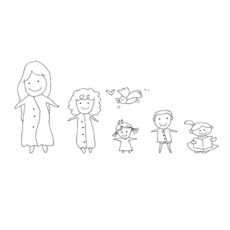 drawing cartoon: hand drawing cartoon concept happy people illustration