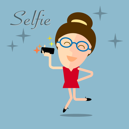 smart girl: girl taking selfie photo on smart phone concept illustration on blue background