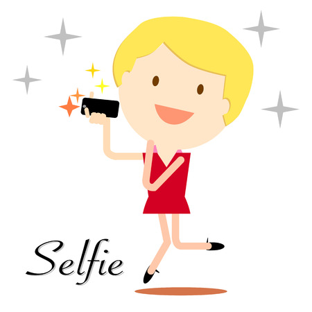 smart girl: girl taking selfie photo on smart phone concept illustration on white background