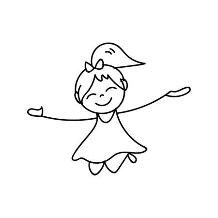 drawing cartoon: hand drawing cartoon character happy kids happy summer