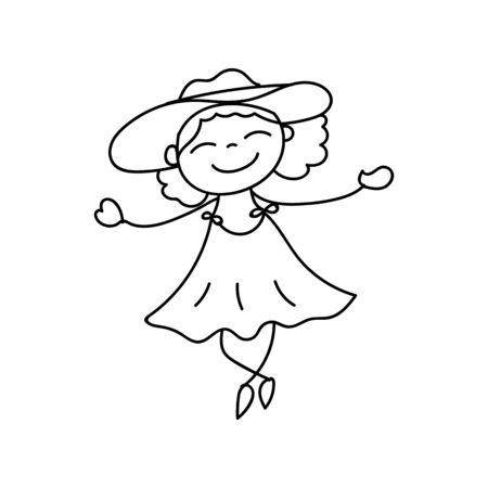 concepto de dibujos animados dibujo de la mano la gente feliz