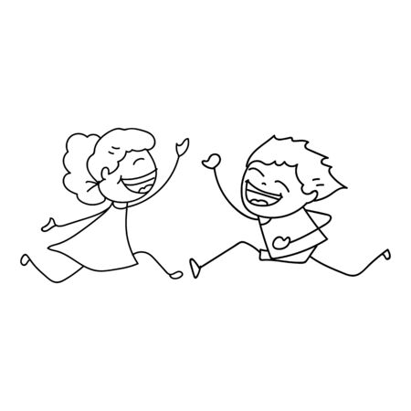 drawing cartoon: hand drawing cartoon concept happy people