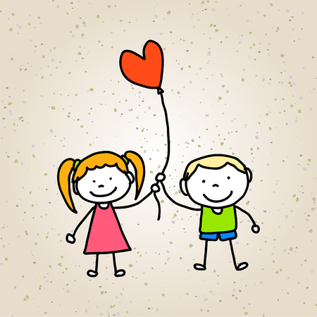 character abstract: hand drawing cartoon character abstract concept happy kids