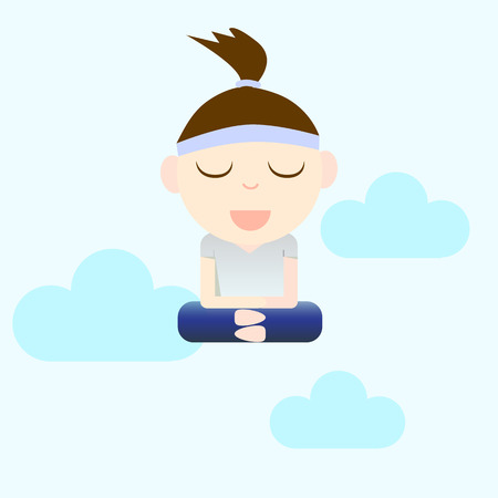 calm woman: cartoon concept woman mediation for calm and happiness illustration Illustration
