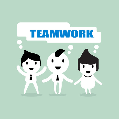 teamwork cartoon: teamwork team collaboration cartoon concept in business vector illustration