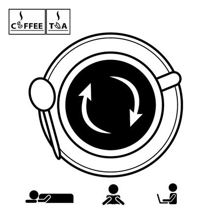 coup de pouce: caf� et tasse de th� vecteur ic�nes vue de dessus avec le signe de rechargement pour stimuler l'�nergie Illustration